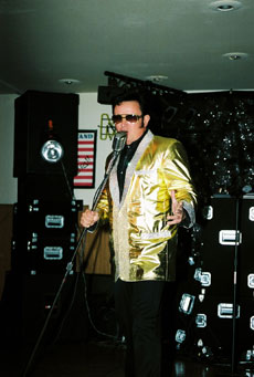 Mike as Elvis with gold lame costume